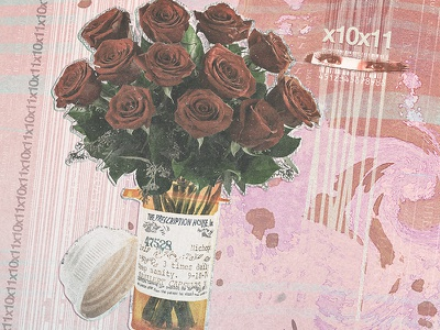 x10 / Bottle-Bouquet / x11 type pink drugs pills pale noisey flowers rose barcodes minimal grainy glitchy