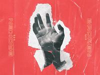 B / R / Ø / K / E / Ń trendy broken album artwork photoshop collage cut noise grain ripped pastels type clippings
