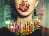 FLWR xx GRL color grade city surreal growth mouth girl photo manipulation grain flower