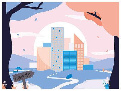 Leeds - Creative City city vector pastel