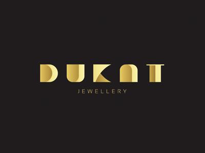 Dukat dukat gold jewellery luxury logo volverise typography letters branding type identity design
