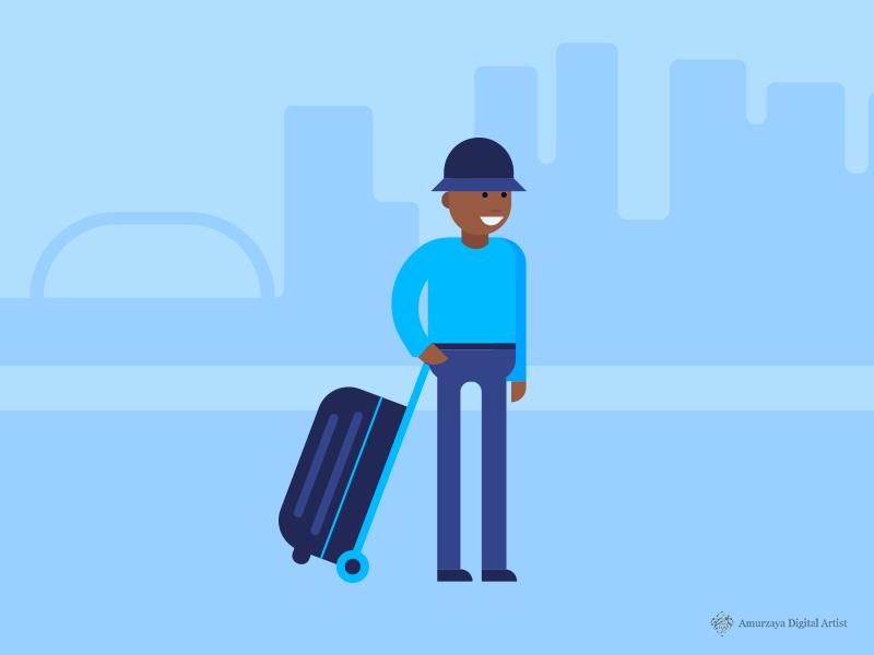 Traveler slide presentation illustration flat minimal character traveler