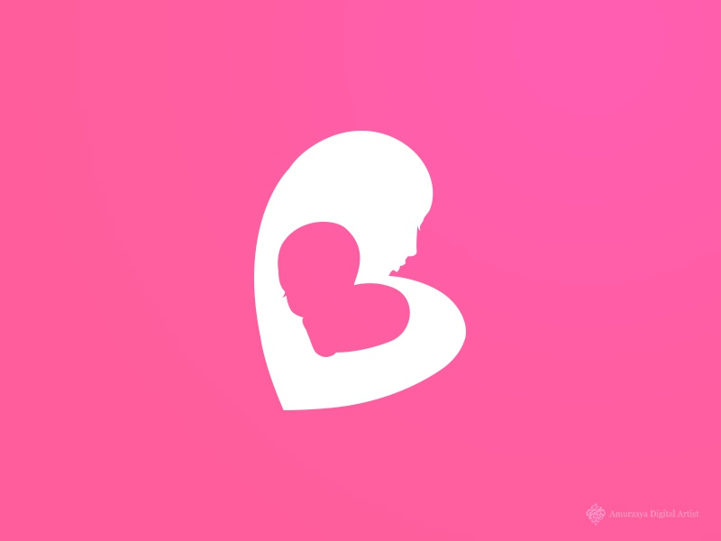 Mom And Baby logo center love cute pink double heart hospital care baby mother mom