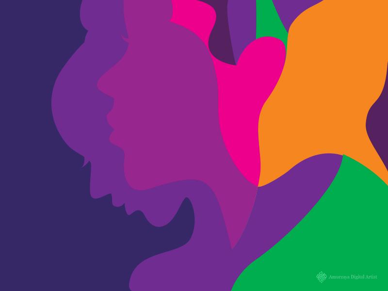 Voices For Change Illustration faces feminist female girl lady women colorful illustration
