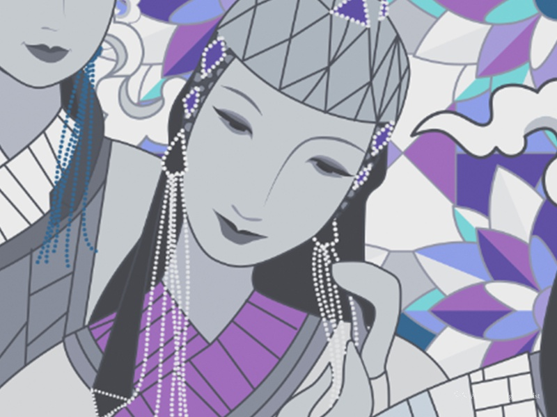 Part of 15 Mongolian Queens mongolian traditional woman digital art illustration glass stained lady girl queen