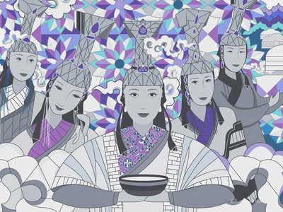 Part of 15 Mongolian Queens