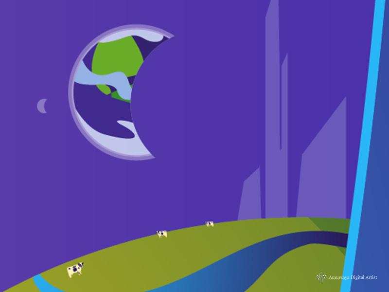 Future Place digital art illustration panorama landscape cow moon earth futuristic future
