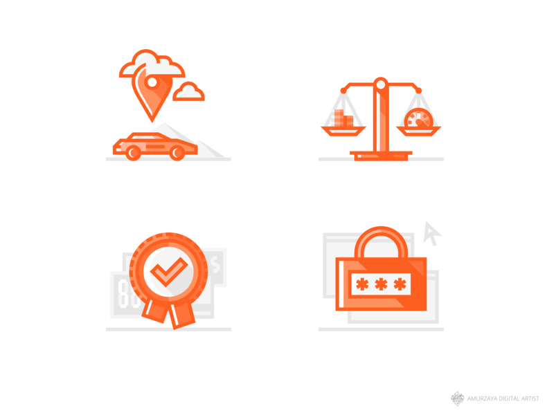 Sixt Car Rental Icons for Web design series illustration flat iconography set icons icon website mongolia service rental car