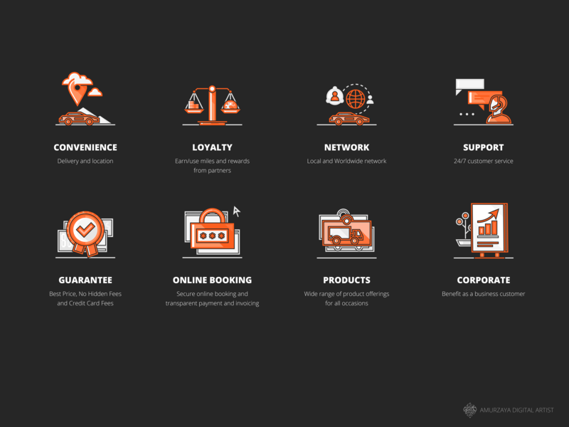 Sixt Car Rental Icons for Web _black background series flat vector design iconographic set icon mongolia service rental car