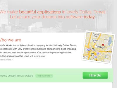 New Tasteful Works homepage tasteful works homepage skyline green map dallas