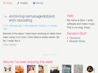 New blog homepage