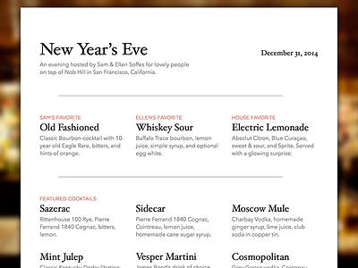 New Year's Eve Cocktail Menu menu cocktail print