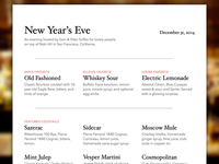 New Year's Eve Cocktail Menu