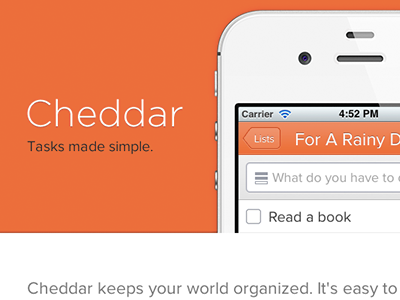 Teaser Site cheddar web iphone