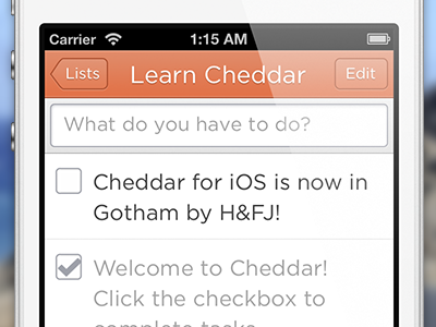 Cheddar for iOS is now in Gotham by H&FJ!