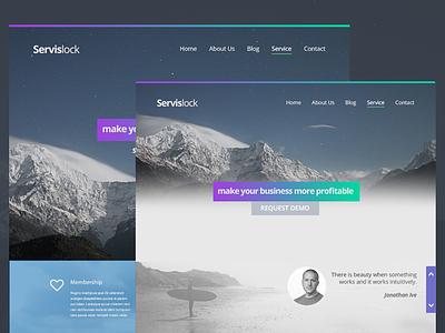 ServisLock landing design webdesign gradient hero service business ui design