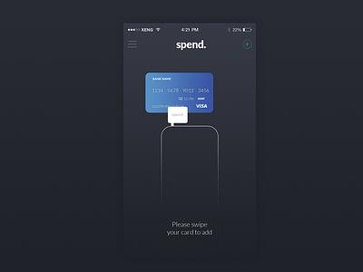 Swipe to add card wallet ux design ui design design ios app card swipe