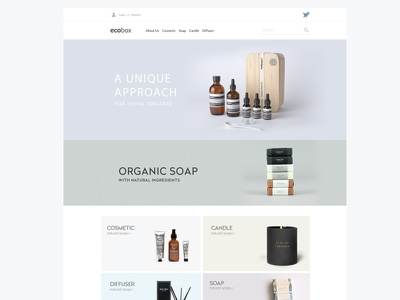 Ecobox soap cosmetic ecommerce estore candle shop webdesign design online startup fashion