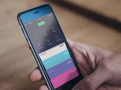 Spend App topbar home ux ui ios app spend design ios menu smartwallet cards payment