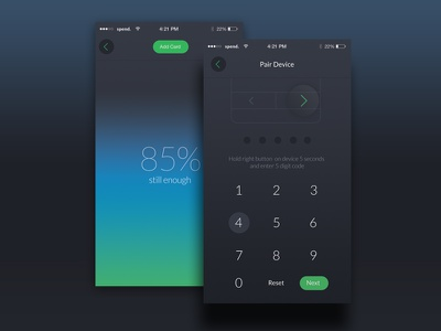 Spend App connect battery user interface ios app design application iphone smart wallet cards payment