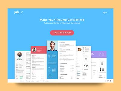 Jobcv.Me builder resume builder pdf print theme webdesign design ui jobcv job cv resume