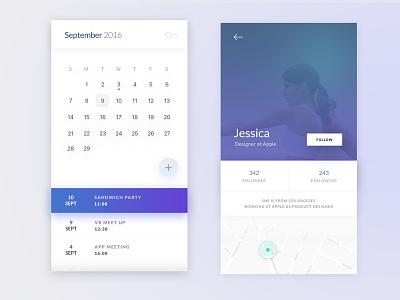 Calendar & Profile gradient iphone apple calendar profile