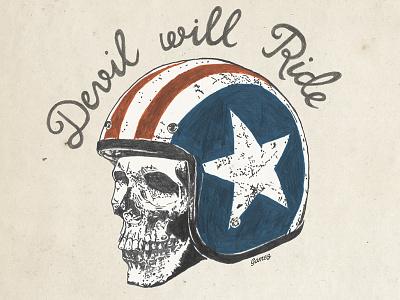 Devil Will Ride skull illustration devil drawing type