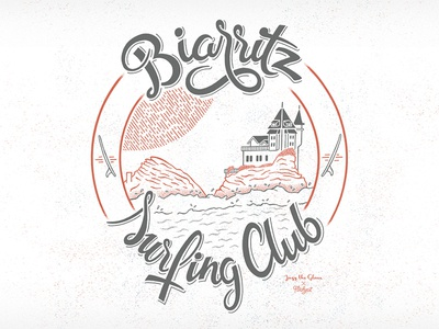 Artwork Biarritz Surfing Club for Jazz The Glass typography biarritz surf illustration artwork teeshirt