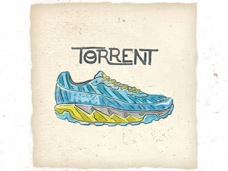 OTF  003 hoka torrent fashion vintage illustration handlettering handmade typography trail running