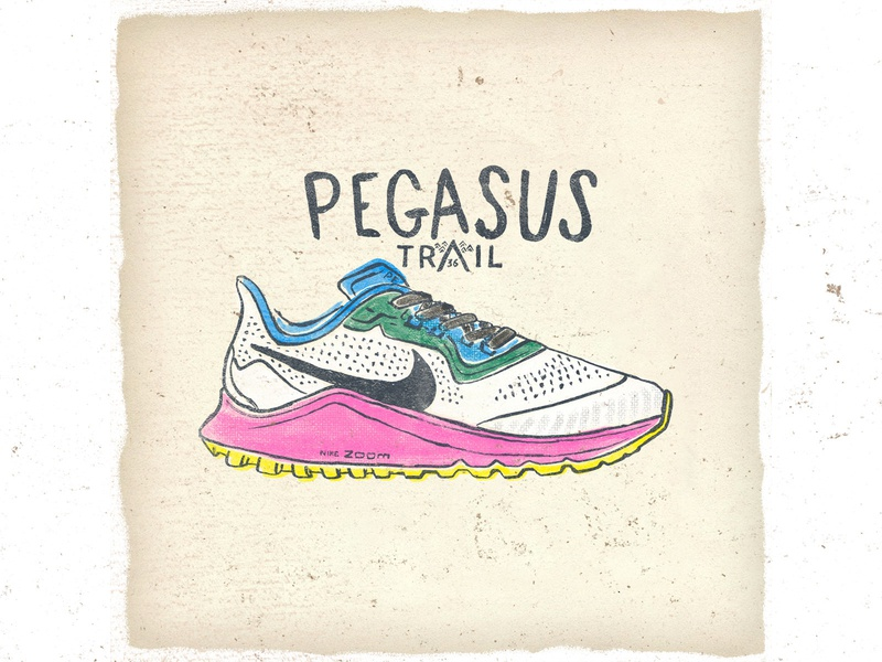 OTF  005 nike pegasus trail 36 typography illustration sneakers fashion illustration ultra trail trail fashion