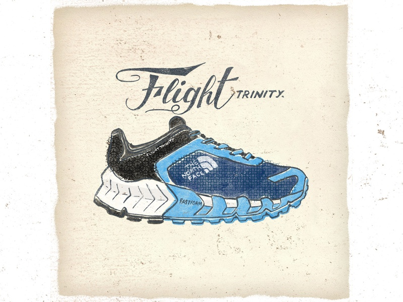 OTF  007 the north face flight trinity 2 typography shoes sneakers run trail running illustration fashion