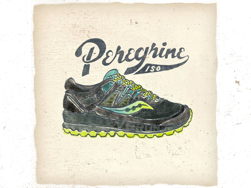 OTF  009 saucony peregrine typography handlettering trail running handmade illustration sneakers shoes fashion