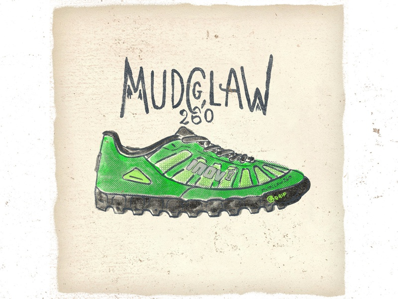 OTF  010 inov8 g mudclaw 260 sneaker handmade typography fashion illustration trail running