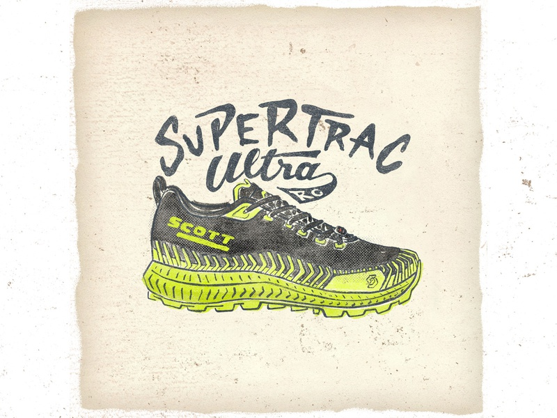 OTF  017 scott ultratrac rc lettering typogaphy handmade sneakers illustration trail ultra trail
