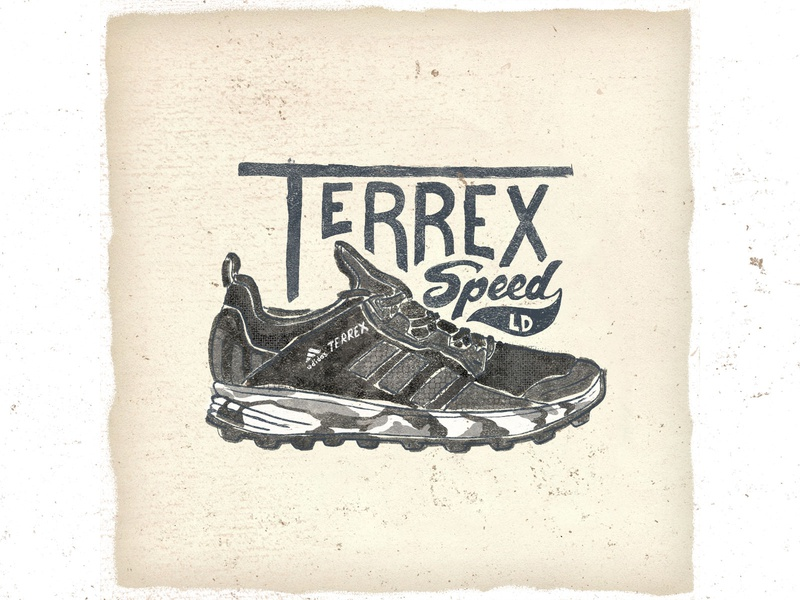 OTF  019 adidas terrex speed ld handlettering artwork letters typography handmade trail running sneakers illustration