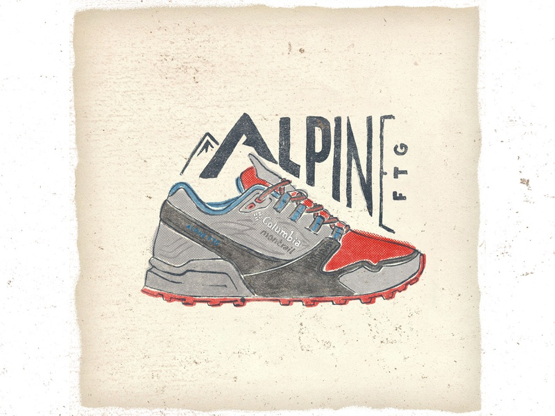 OTF  020 columbia alpine ftg ultra trail trail handlettering design typography sneakers illustration