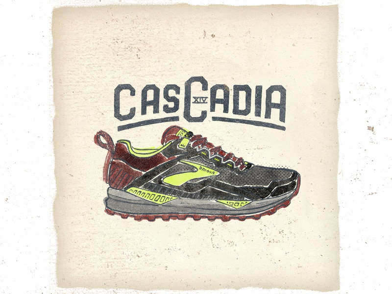OTF  021 brooks cascadia 14 artwork typography handmade ultra trail shoes trail sneakers illustration