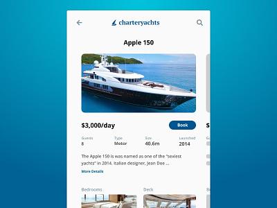 Daily UI 012 - E-commerce (Single Product) single product dailyui mobile ui app rental charter ecommerce yacht boat