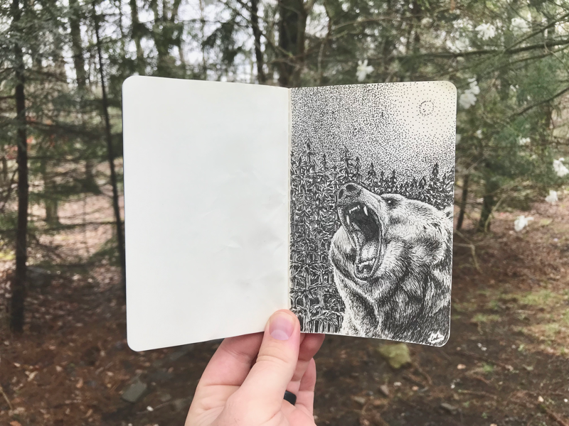 Bear in the Woods nature trees forest sketch stippling pen and ink moleskine moleskin bear