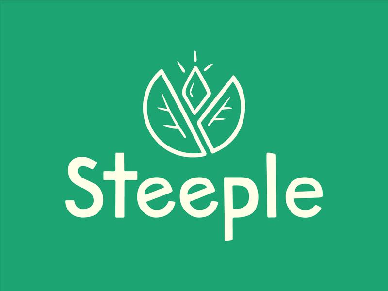 Steeple tea brand icon lettering logo design branding typography illustration
