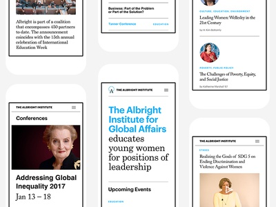 Sneak Peak of The Albright's Institute redesign educational institute typography white responsive web mobile