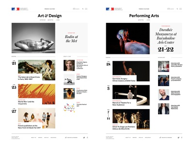 French Culture Chapter Templates grid clean layout embassy governmental french typography digital web