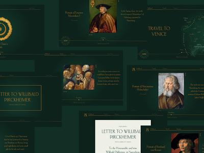 Check some new mockups from Albrecht Durer Timeline project! letter map history timeline