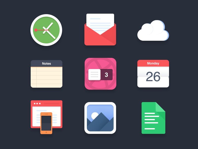 Flat icons (PSD) - 3 Dribbble invites flat icons flat icon flat browser browser clock cloud paper calendar mail notes gallery simple