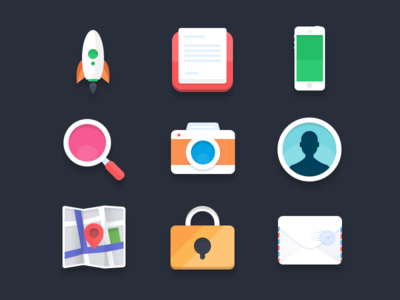 Flat icons (PSD) #2 flat icons flat icons rocket mail iphone magnify zoom profile camera map lock notes simple