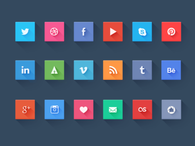 Social icons - freebie icons social icon set twitter facebook behance vimeo google weheartit rss skype pinterest dribbble