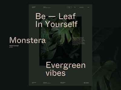 N° 01 Be-Leaf In Yourself website layout design web concept layout typography
