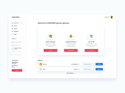 Confirmo Dashboard dashboard ui admin finance app design bitcoin crypto