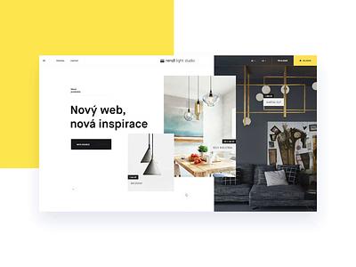 Rendl Light Studio website design lights minimal yellow layout website