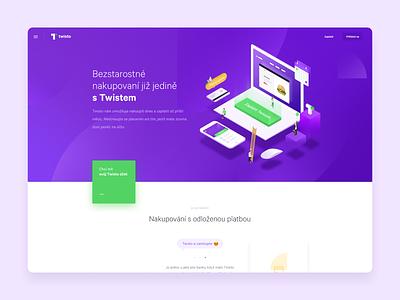 Fintech Startup - Twisto Payments purple money fintech startup website isometric illustration isometric